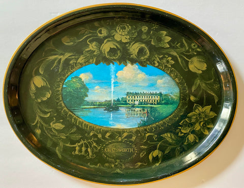 Vintage English Tole Toleware Tray Derwent River Chatsworth House Fountains