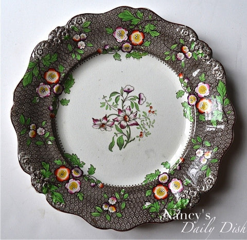 Antique Staffordshire Clobbered Brown Transferware Plate Ridgway Circa 1830 Hand Painted & Numbered
