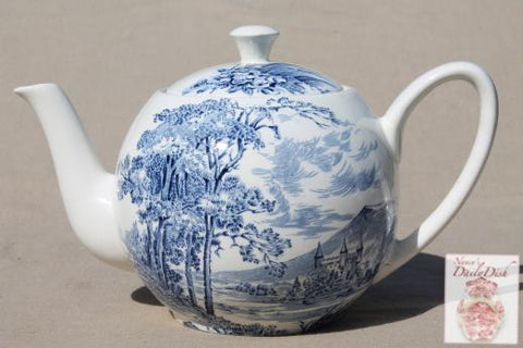 Wedgwood Blue Transferware Teapot Tea Pot English Countryside Bridge Castle