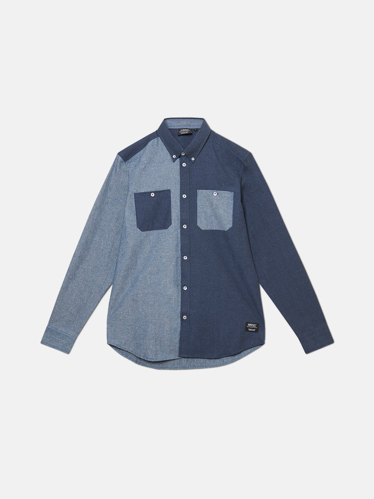 OLAVI BLOCK CHAMBRAY L/S SHIRT