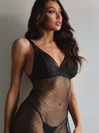Glam black sheer lace cup chemise and thong set