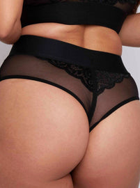 Black sexy glam brief with a lace front and spot mesh back brief with no VPL perfect for spicing up your lingerie