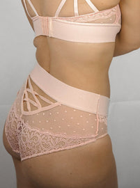 Soft pink high waisted brief featuring lace and mesh panels available in sizes 8, 10, 12, 14, 16, 18, 20, 22, 24 and 26