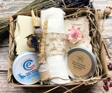 Load image into Gallery viewer, New Mum Pamper Gift Box - Handmade Natural Soaps, Face Mask, Organic Wash Cloth & Natural Baby Balm - Mad About Nature