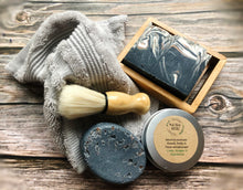 Load image into Gallery viewer, Men's Shaving Set - Lime, Ginger Patchouli Soap bar,  Salt soap bar, Cream, Soap rack, Flannel & brush
