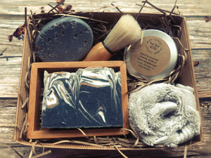 Men's Shaving Set - Lime, Ginger Patchouli Soap bar,  Salt soap bar, Cream, Soap rack, Flannel & brush