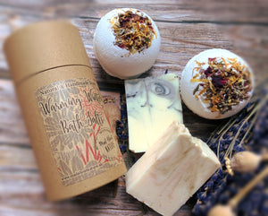 Winter Warming Bath Salts Pamper Gift Box with Handmade All Natural Soap & Bath Bombs - Mad About Nature