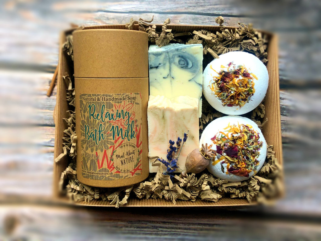 Bath Milk Pamper box with Soaps & Bath Bombs - Mad About Nature