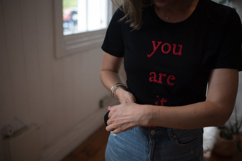 Claire Robbe wearing the You Are It design by Amanda Billing