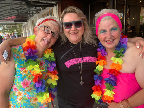 Bryony Skillington and the Topp Twins at Ponsonby Pride, Auckland, 2020.