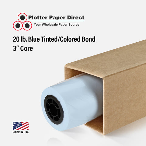 "(2) 36"" x 500' Rolls - 20# Blue Tinted/Colored Bond - 3"" Core"