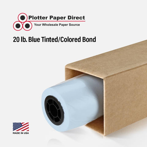 22'' x 300' Rolls - 20 lb Blue Tinted/Colored Bond Plotter Paper on 2'' Core (Pack of 2)