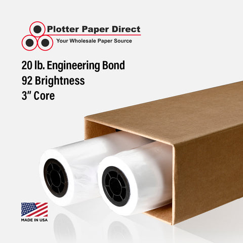 "(2) 34"" x 500' Rolls - 20# Engineering Bond - 3"" Core"