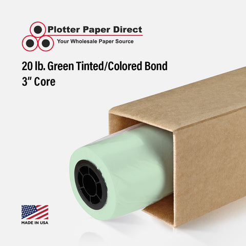 "(2) 24"" x 500' Rolls - 20# Green Tinted/Colored Bond - 3"" Core"