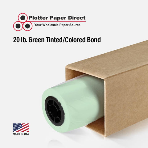 24'' x 150' Rolls - 20 lb Green Tinted/Colored Bond Plotter Paper on 2'' Core