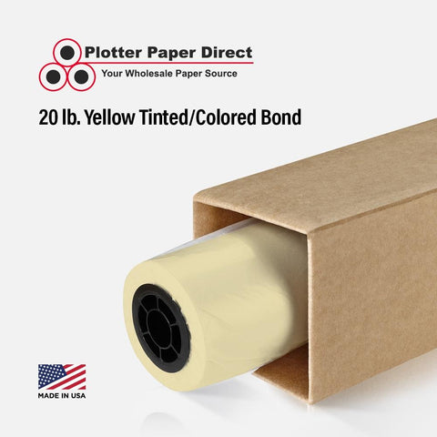 18'' x 300' Rolls - 20 lb Yellow Tinted/Colored Bond Plotter Paper on 2'' Core