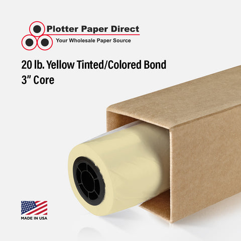 "(2) 30"" x 500' Rolls - 20# Yellow Tinted/Colored Bond - 3"" Core"