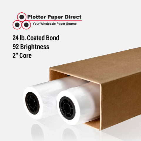 "(2) 24"" x 300' Rolls - 24# Coated Bond - 2"" Core"