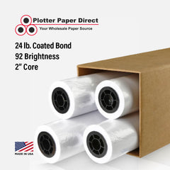 "(4) 24"" x 150' Rolls - 24# Coated Bond - 2"" Core"