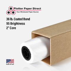 "24"" x 100' Roll - 36# Coated Bond - 2"" Core"