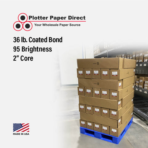 "(1) 44"" x 100' Roll - 36# Coated Bond - 2"" Core"