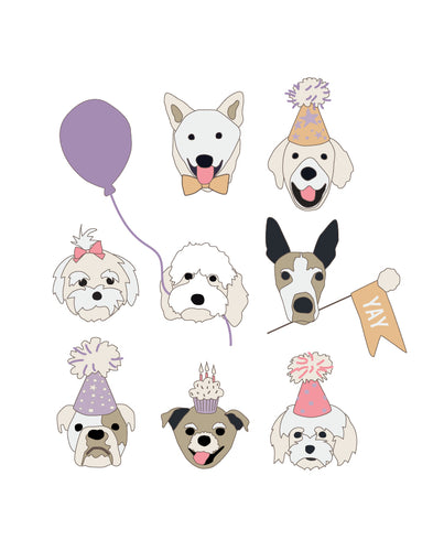 Birthday Puppy Posters - lavender