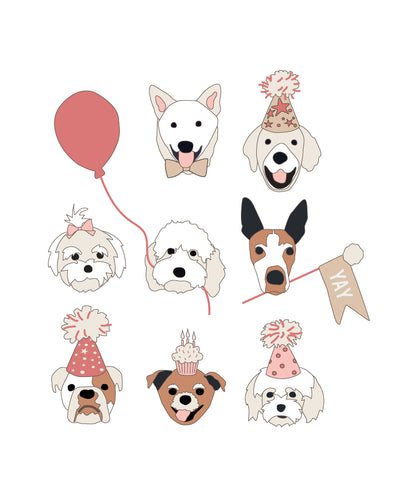 Birthday Puppy Posters - pink