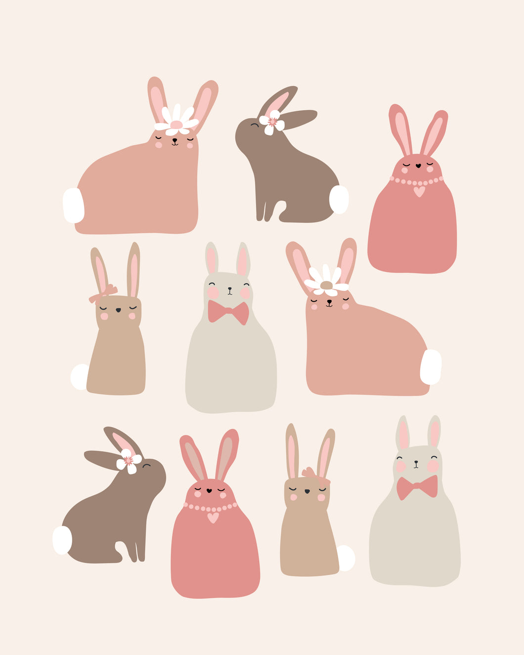 Hoppy Easter Bunnies - pink