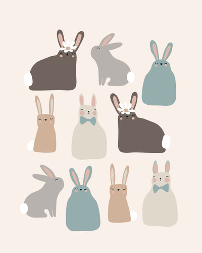 Hoppy Easter Bunnies - Blue