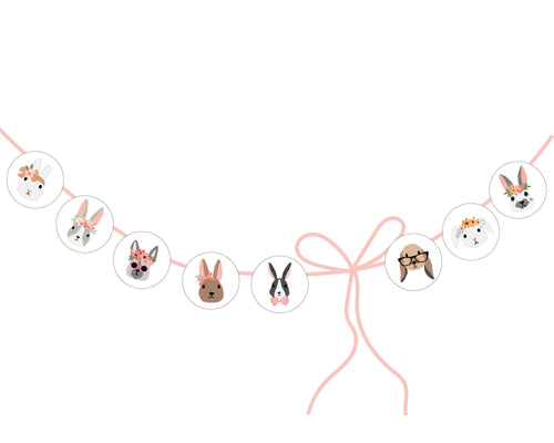 Flower Bunnies circles with white background