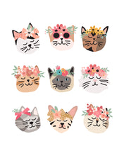 Load image into Gallery viewer, Kitty Cat Faces with Flower Crowns for decor, children's rooms or birthday party decor