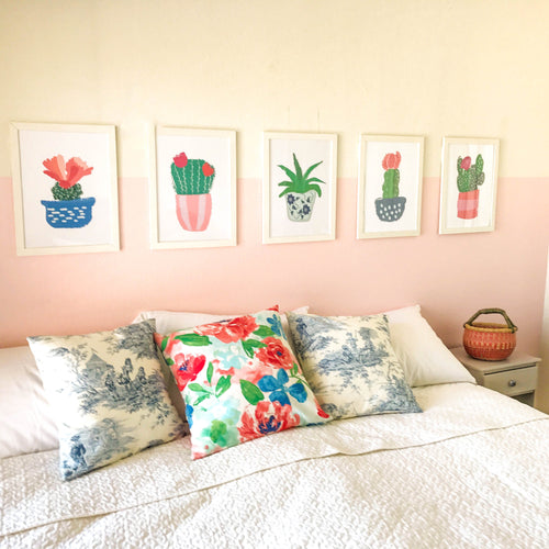 Cactus Flower Wall Art Collection - bright