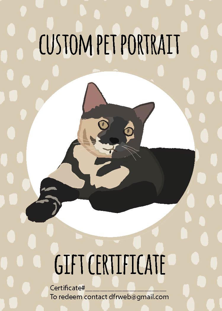 Custom Pet Portrait Gift Certificate