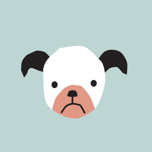 Puppy Faces wall art - blue background