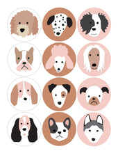 Load image into Gallery viewer, Puppy Dog Birthday Party Circles for Banner and Straw Tags - tan pink and white backgrounds