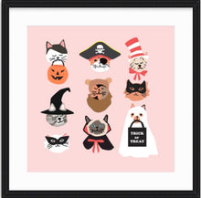 Load image into Gallery viewer, Halloween Kitty Cat Faces wall art for Halloween decor