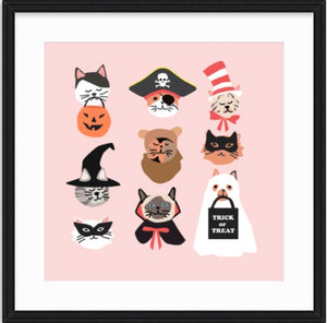 Halloween Kitty Cat Faces wall art for Halloween decor