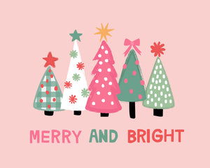 Merry and Bright Holiday Christmas Trees and Word Art Collection - Pink