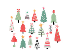 Load image into Gallery viewer, Merry and Bright Holiday Christmas Trees and Word Art Collection