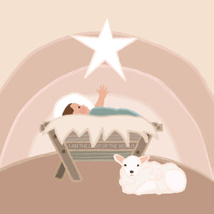 Away in a Manger Christmas Nativity Art with Baby Jesus