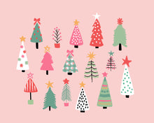 Load image into Gallery viewer, Merry and Bright Holiday Christmas Trees and Word Art Collection - Pink