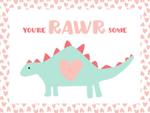 Load image into Gallery viewer, Dinosaur Valentines- pretty pink