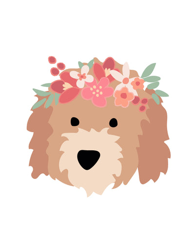 Puppy Dog Faces With Flower Crowns Posters - for party and wall decor