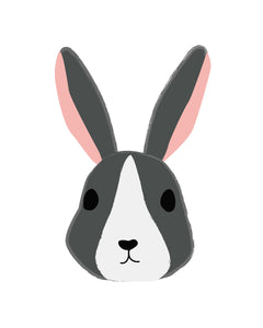Bunny Rabbit Faces Illustrations - art for party and wall decor