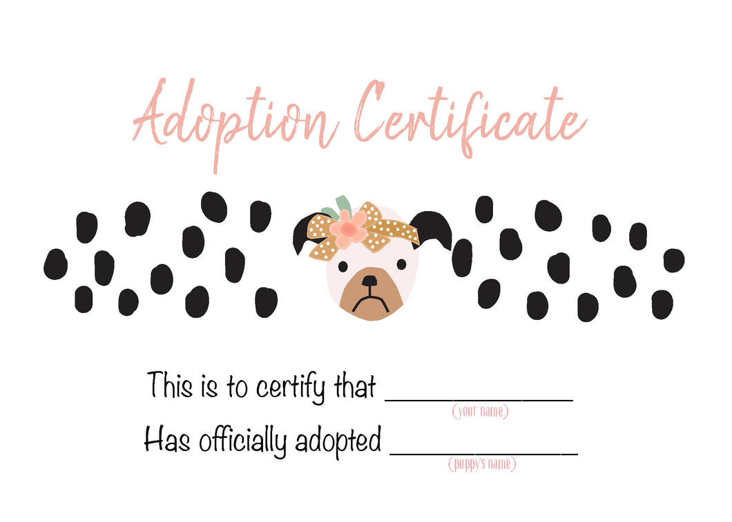 Puppies With Flowers Party Posters and Certificates - Dots