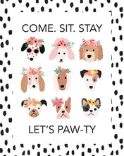 Load image into Gallery viewer, Puppies With Flowers Party Posters and Certificates - Dots