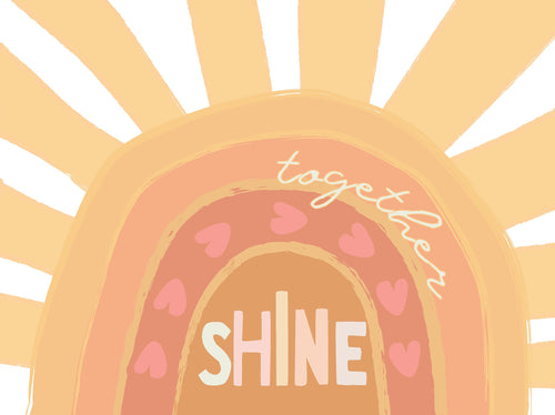 Shine Together Sunshine hearts wall art, cards, tags and coloring pages
