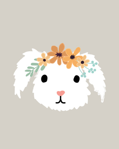 Bunny Rabbit Faces Illustrations With Flower Crowns - art for party and wall decor