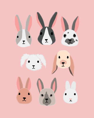 Bunny Rabbit Faces Illustrations Pastels - art for party and wall decor