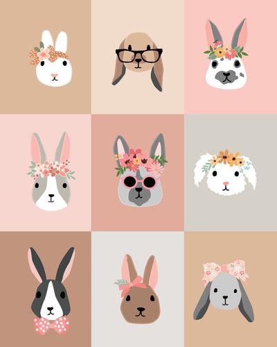 Bunny Rabbit Faces Patchwork wall art